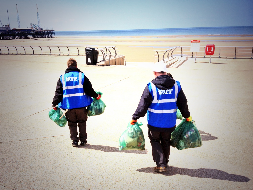 Employees volunteering on a beach clean